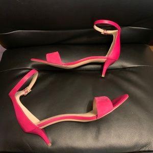 Nine West Pink Leisa Kitten Heel Sandals Suede